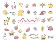 秋のシンプルな線画イラストアイコンセット01 2色 / 紅葉、食べ物、動物、花、果物