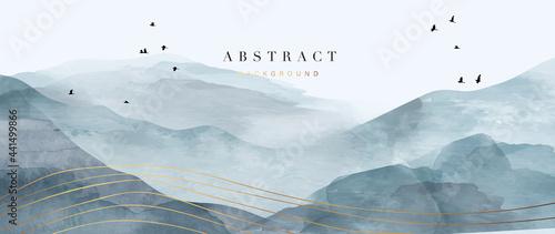 Fotografie, Tablou mountain and golden line arts background vector