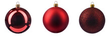 Three Different Christmas Tree Toys In Red On A White Isolated Background.