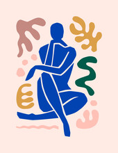 Matisse-inspired Abstract Art Of The Female Figure And Organic Shapes In A Trendy Minimalist Style. Vector Collage