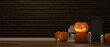 Leinwandbild Motiv Halloween decorations with pumpkin lamps, candle and scary stuff on the floor in living room, 3D rendering