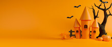 Witch Castle And Dried Tree On Yellow Background, Halloween Concept, 3D Rendering