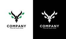 Creative Modern Deer Leaf Nature Logo Template. Vector Illustration.