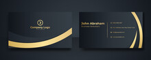 Modern Simple Black Gold Business Card Background. Black Blue Gold Business Card Flat Design Template Vector. Modern Presentation Card With Company Logo. Vector Business Card Template. Visiting Card