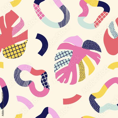 Tapety Tropikalne  streszczenie-tropikalny-wzor-bez-szwu-tlo-z-kolorowymi-ksztaltami-i-liscmi-modny-prosty-design-dla-tekstyliow