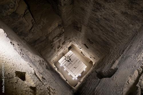 Billede på lærred View of the ancient crypt inside Great step pyramid of Djoser, Saqqara