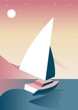 Sailboat Lake Aventure Travel Landscape Scene Vector Illustration Design
