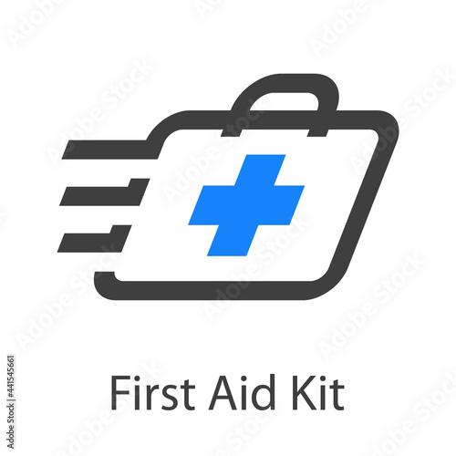 Fotografija Logo First Aid Kit con maletín con cruz con lineas de velocidad en color gris y