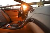 Closeup view of luxury convertible car interior