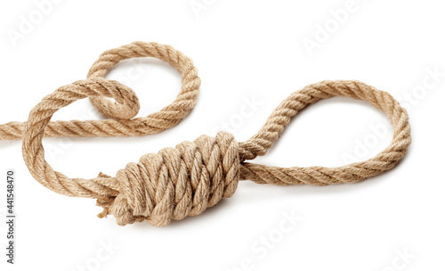 Fotografija Rope noose with knot on white background