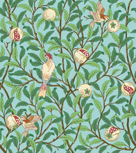 Vintage Birds In Foliage With Birds And Fruits Seamless Pattern On Light Green Background. Middle Ages William Morris Style. Vector Illustration.