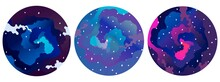 Set Of Cosmic Sky In Round Frames. Space In Blue And Purple With Stars And Clouds In Shades Of Pink. Simple Vector Printable Illustration. Suitable For Story Decoration, Manicure. Round Badges.