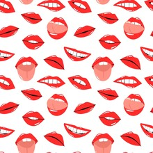 Red Lips Seamless Pattern. Female Sexy Lipstick. Woman Lip With Makeup, Tongue And White Teeth, Cartoon Vector Isolated Contemporary Decor Textile, Wrapping Paper Wallpaper Vector Print Or Fabric