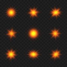 Shiny Orange Star Light Effect Set Vector Illustration On Transparent Background