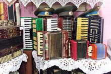 Various Types Of Accordions And Button Accordions For Sale At The Vintage Market In Izmailovo