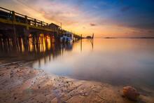 Amazing Sunrise In The Fishing Village Of Sembulang Beach, Batam Island