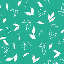 Seamless Pattern With White Flowers On A Green Background, Vector Illustration. Template For Paper, Packaging And Design. Botanical Natural Background. Hand Drawing.