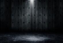 Empty Space Of Studio Dark Room Concrete Floor Grunge Texture Background With Spot Lighting Effect.