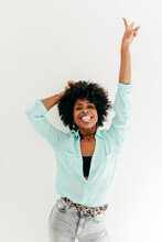 Cheerful Woman Showing Peace Sign