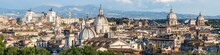 Aerial Panorama Of The Rome Skyline In Summer, Italy