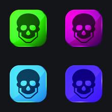 Big Skull Four Color Glass Button Icon
