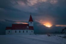 Sunset Sky Over Church Building