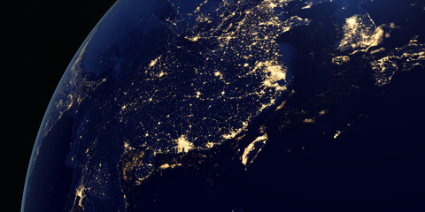 View of China at night in the earth planet rotating from space