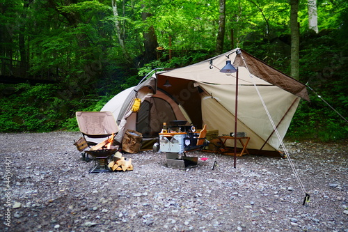 Foto camping in the mountains