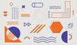 Geometric shapes. Set of memphis design elements for Poster, leaflet, Magazine, Banner, billboard sale. Universal trend 80, 90s style. Vector illustration