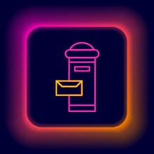 Glowing Neon Line Traditional London Mail Box Icon Isolated On Black Background. England Mailbox Icon. Mail Postbox. Colorful Outline Concept. Vector