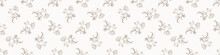 Seamless Minimalist Doodle Flower Border Pattern. Calm Earthy Color Edge Banner. Simple Modern Scandi Unisex Baby Design. Organic Childish Gender Neutral Masking Tape Design. Hand Drawn Floral Trim.