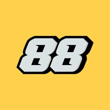 Racing Star Number 88 Isolated On Yellow Background