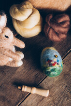 Hand Made Easter Eggs Made Of Wool And Felt