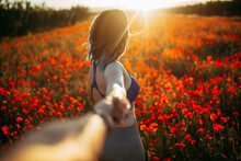 Woman Holding Hand Of Person Near Amazing Field With Red Flowers In Sunny Day