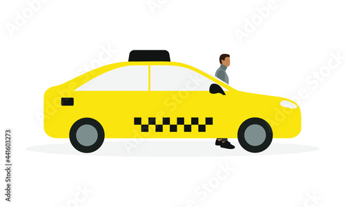Valokuva Male character stands near a yellow taxi on a white background