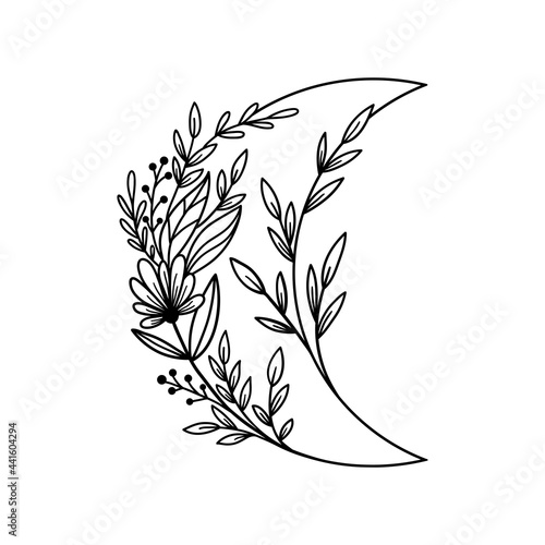 Obraz na plátně Hand drawn floral crescent moon with flowers and leaves.