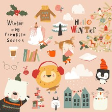 Winter Set With Cute Animals, Girl And Holiday Elements
