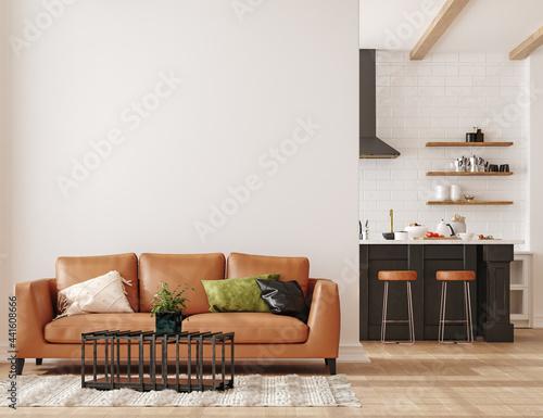 Wall mockup in loft, kitchen in industrial style ,3d render