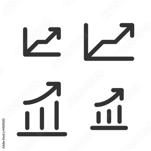 Murais de parede Pixel-perfect linear icons of a graph with ascending arrows in two variants built on two base grids of 32x32 and 24x24 pixels