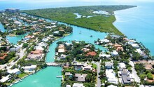 Title: Aerial View Of South End Of Key Biscayne And No Name Harbor, Florida