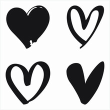 Heart Silhouette Sketch Set Illustration. Best Use For Print On Demand Apparel And Merch Design.