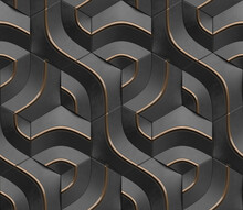 Geometric Seamless 3D Pattern In Black With Gold Elements. Curve Series. 3d Illustration.