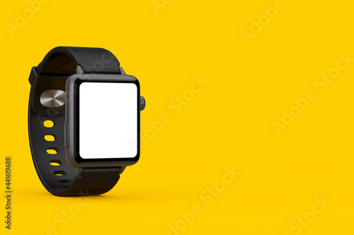 Valokuvatapetti Black Modern Smart Watch Mockup with Starp and Blank Screen for Your Design
