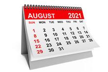 Calendar August 2021. 3d Rendering