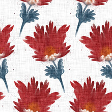 Watercolor Red Florals Pattern Texture. Hand Painted Whimsical Seamless Scandi Style. Modern French Farmhouse Flower Linen Textile For Shabby Chic Fashion And Home Decor.