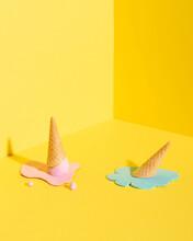 Artificial Melting Ice Cream In Yellow Studio