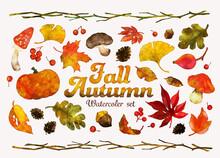 水彩風の秋、ベクターイラストセット