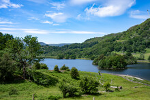 Rydal Water Under Blue Skies With Heron Island And Little Isle Seen On The Right