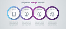 Set Line Play Video, CD Or DVD Disk, And Film Reel. Business Infographic Template. Vector