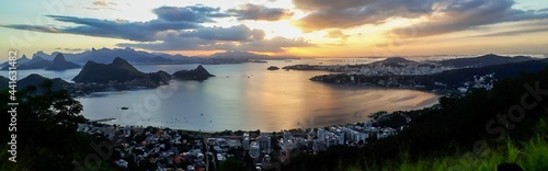 Fotografia Panoramic of Rio de Janeiro and Guanabara Bay from Niteroi city observatory, Bra
